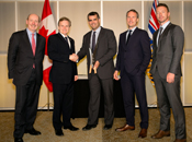From left to right: Dave Mullen, Chair of Canada's Venture Capital and Private Equity Association (CVCA), Andrew Saxton, Parliamentary Secretary to the Minister of Finance and Member of Parliament for North Vancouver, Jérôme Nycz, Executive Vice President, BDC Capital, and Mike Woollatt, CEO of CVCA, present the 2015 BDC Innovation Award to Pablo Asiron (in the middle), CEO of RtTech Software