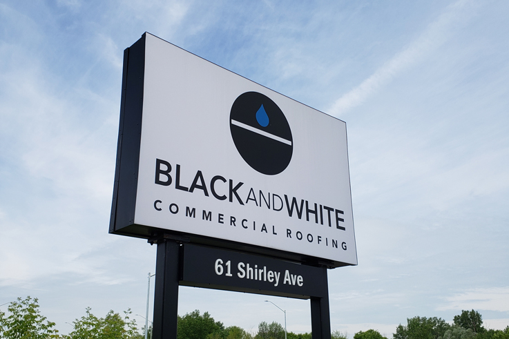 Black and White Commercial Roofing