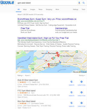 Example of a Google search when listed in Google My Business